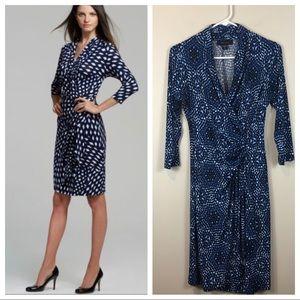 Karen Kane Blue Print Cascade Wrap Dress